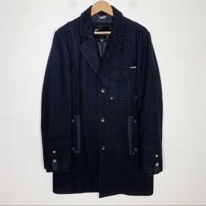 GUESS black wool button up cocoon overcoat